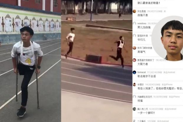 One-legged Chinese student wins hearts of schoolmates and nation after 1,000m 'run'